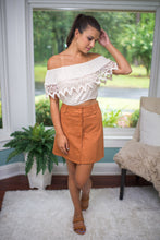 Taupe Off Shoulder Crop Top