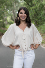 Taupe Striped Button Front Top