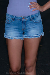 Double Frayed Denim Shorts