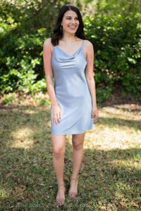 Slate Cowl Neck Mini Dress