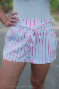 Pink/White Paper Bag Waist Shorts