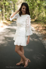 Off White Dotted-Swiss Scoop Dress