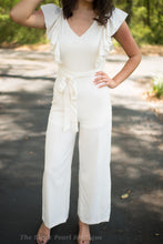 Cream V Neck Jumpsuit