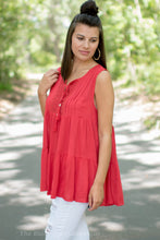 Red Embroidered Sleeveless Top