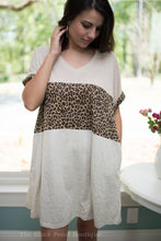 Oatmeal/Animal Print Colorblocked Dress