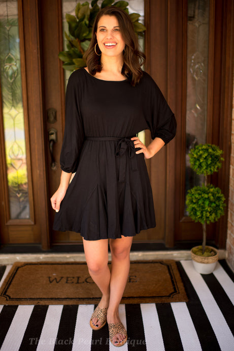 Black Dress With Puff Sleeves