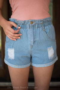Denim Paperbag Waist Shorts