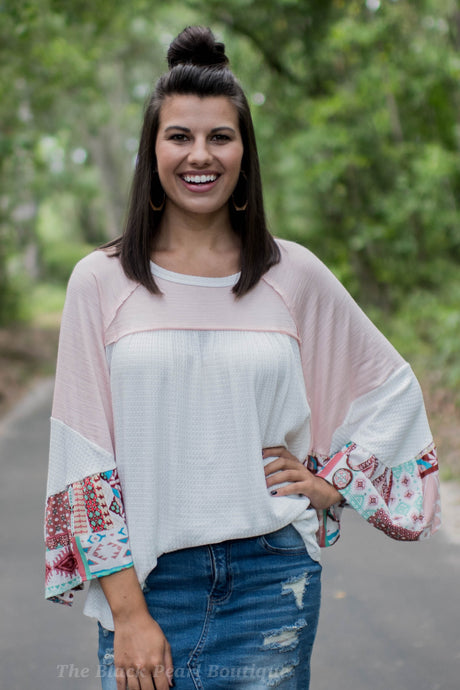 White/Blush Flowy Sleeve Top