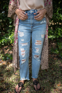 High Waist Distressed Girlfriend Jeans