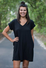 Black Pocket Tee Dress