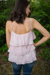 Pink Textured Lace Tank