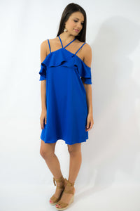 Royal Blue Ruffle Cold Shoulder Dress