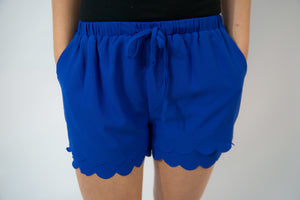 Royal Blue Scalloped Shorts
