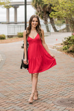 Red Back Lace Up Baby Doll Dress