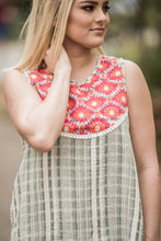 Sage Embroidered Checker Top