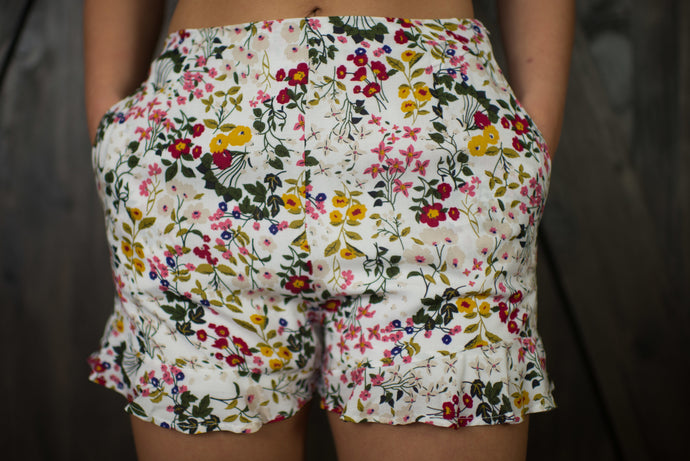Off White Floral Shorts