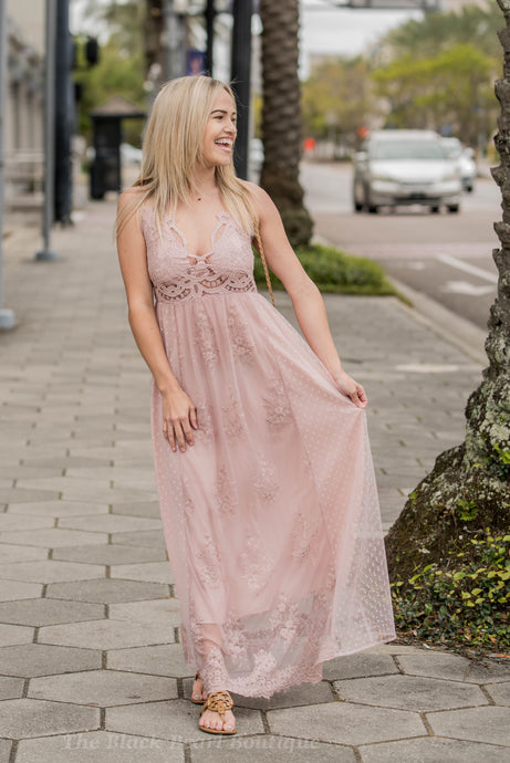 Rose Sheer Floral/Polka Dot Maxi Dress