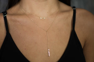 Gold Double Strand Arrow Necklace