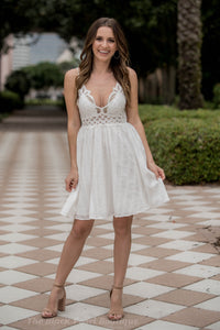 White Lace Bra Mini Dress