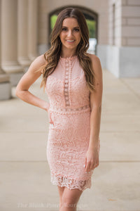 Blush Crochet Lace Dress