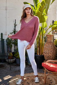 Ash Rose Frayed V Neck Sweater
