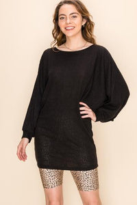 Black Ribbed Tunic Dress