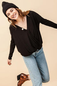 Black Surplice Long Sleeve