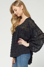 Black Swiss Babydoll Blouse