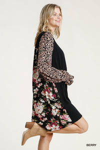Black Floral/Animal High/Low Dress