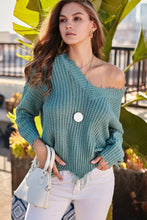 Mineral Blue Frayed V Neck Sweater