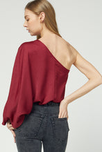 Burgundy One Shoulder Sleeve Blouse
