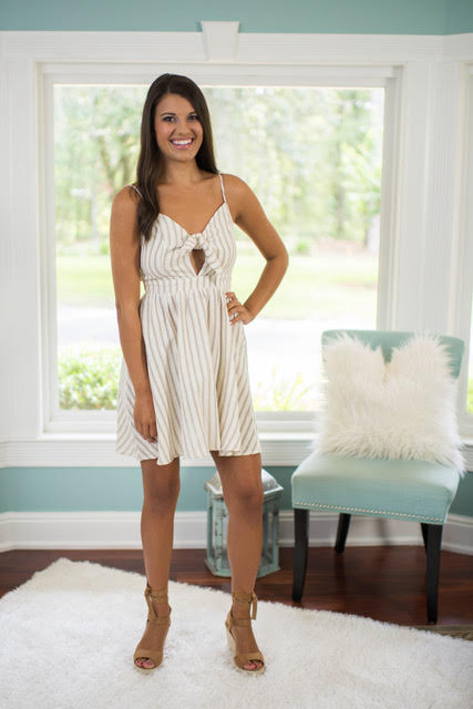 Light Taupe Striped Dress