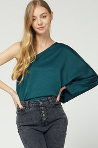 Hunter Green One Shoulder Blouse