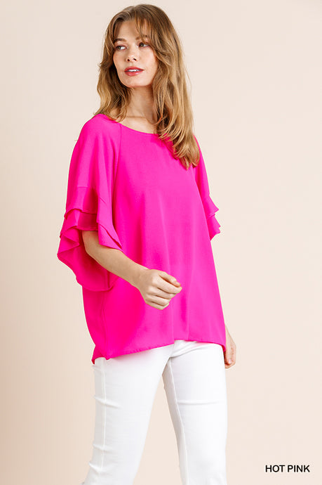 Hot Pink Ruffle Sleeve Blouse