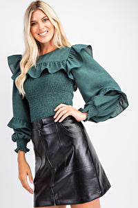 Hunter Green Ruffled Smocked Top