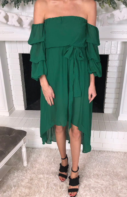 Green High/Low Chiffon Dress