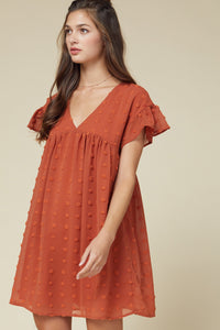 Rust Dotted Swiss Dress