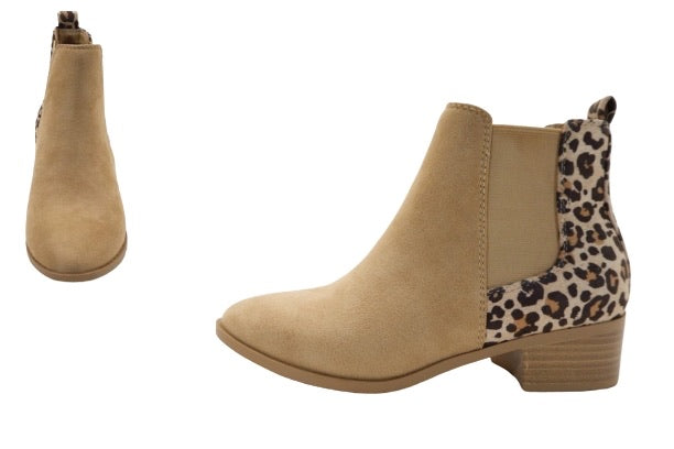 Taupe Booties W/Cheetah Back