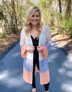 Cream Color Block Long Cardigan