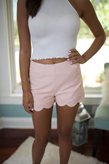 Misty Pink Scalloped Shorts