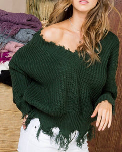 Hunter Green Frayed V-Neck Sweater