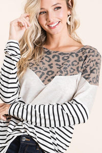 Mocha/Stripe/Leopard Top