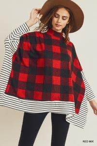 Red/Black Checkered Poncho Top