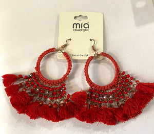 Red Tassel Fringe Earrings