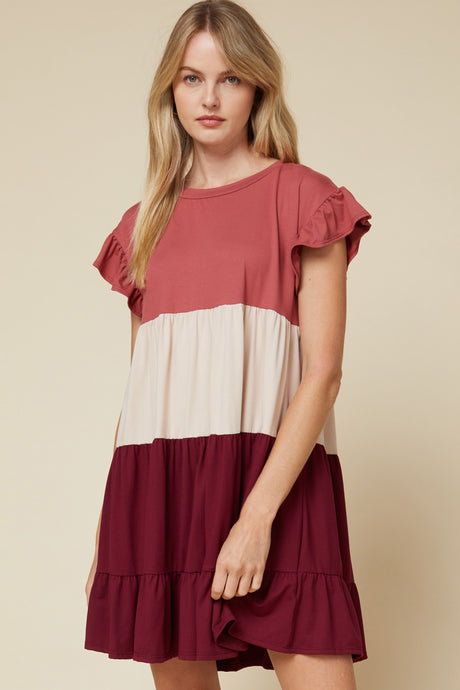 Burgundy/Color Block Ruffled Dress