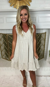 Oatmeal Frayed V Neck Dress