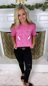 Pink Rock N Roll Crop Tee