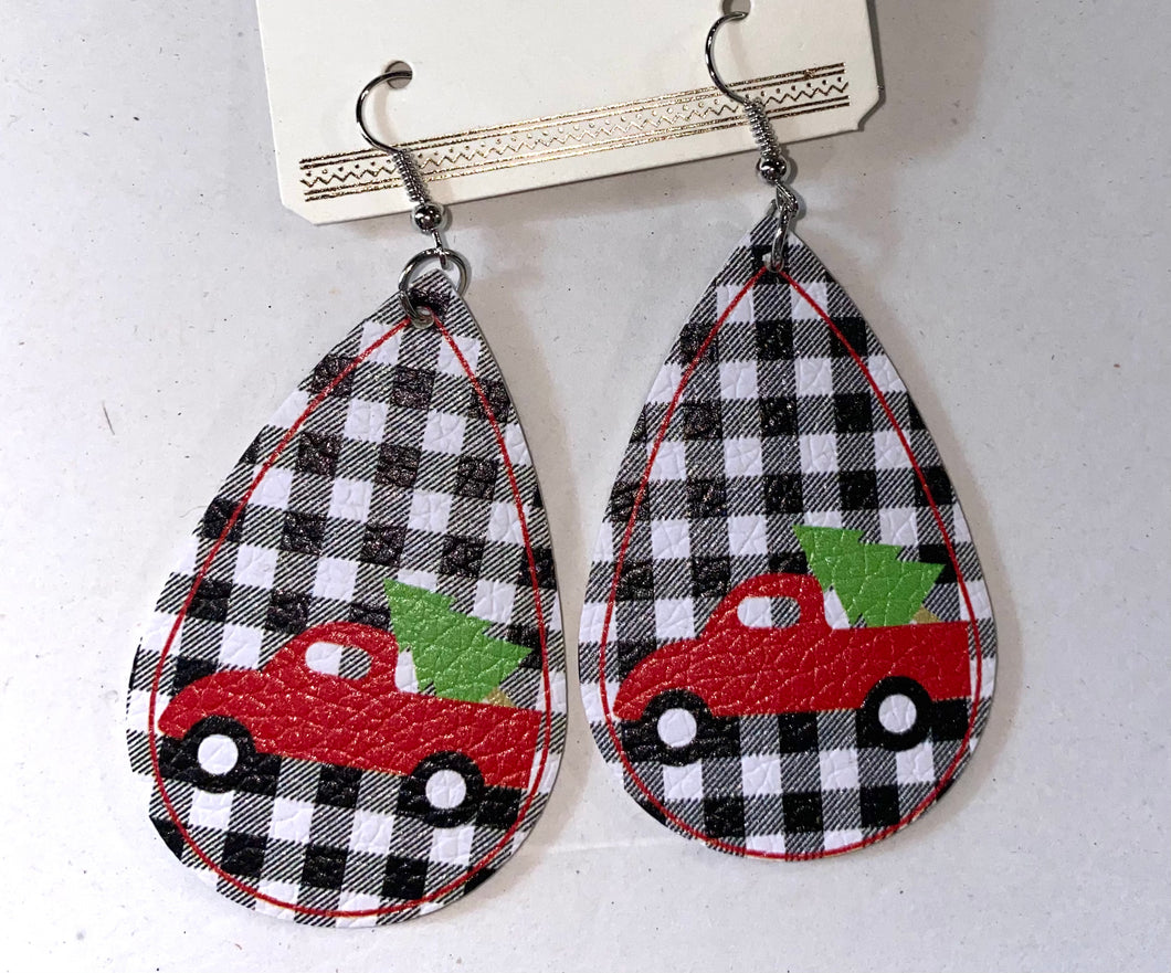 Plaid Car Earrings