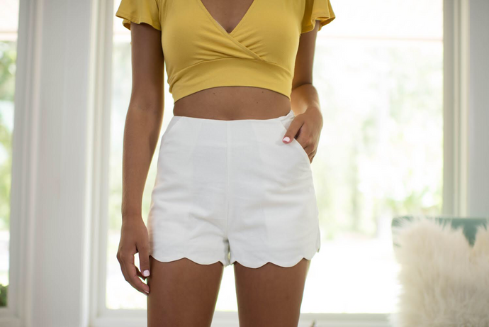 Off White Scalloped Shorts