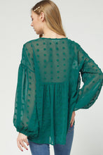 Hunter Green Swiss Babydoll Blouse